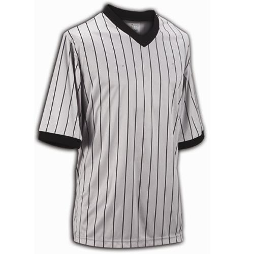 Smitty Basketball Officials Grey Elite V-Neck Shirt with Black Pinstripes