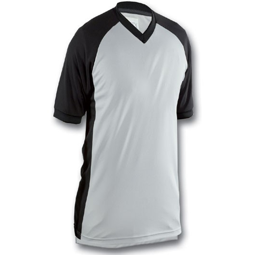 Smitty Basketball Officials Grey Performance Mesh V-Neck Shirt with Black Raglan Sleeve and Black Side Panel