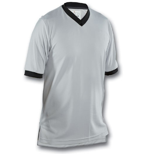 Smitty Basketball Officials Performance Mesh Solid Grey V-Neck Shirt
