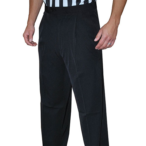 Smitty Men's Basketball Tapered Fit Premium 4-Way Stretch Pleated Front Officials Pants - Slash Pockets