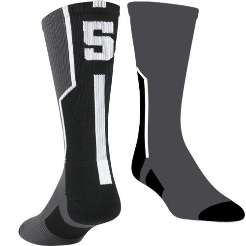 TCK Player ID Sock - Black/Graphite/White