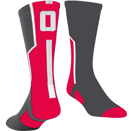 TCK Player ID Sock - Graphite/Red/White