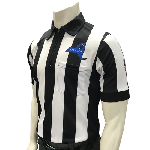 Smitty Official's Apparel Men's Short Sleeve New York Football Referee Shirt With 2 1/4 inch Stripes and USA Flag