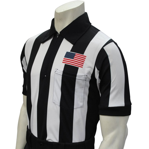 Smitty Official's Apparel Men's Short Sleeve Football Referee Shirt With 2 1/4 inch Stripes and USA Flag