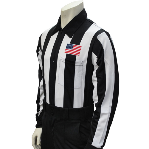 Smitty Official's Apparel Smitty Men's Long Sleeve Football Referee Shirt With 2 1/4 inch Stripes and USA Flag
