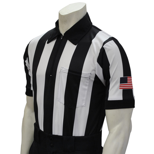 Smitty Official's Apparel Smitty Men's Short Sleeve Football Referee Shirt With 2 1/4 inch Stripes and USA Flag