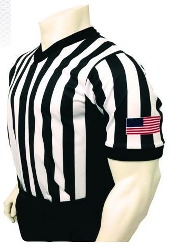 Smitty Men's Basketball Officials Body Flex Shirt with Black Side Panel and USA Flag