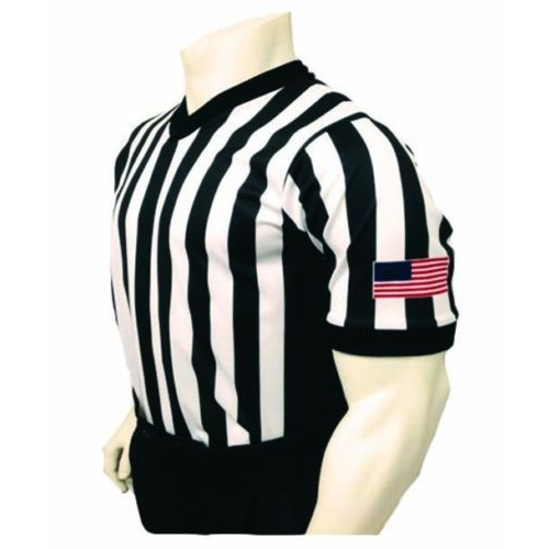 Smitty Basketball Officials Performance Mesh V-Neck Shirt with Black Side Panel and USA Flag