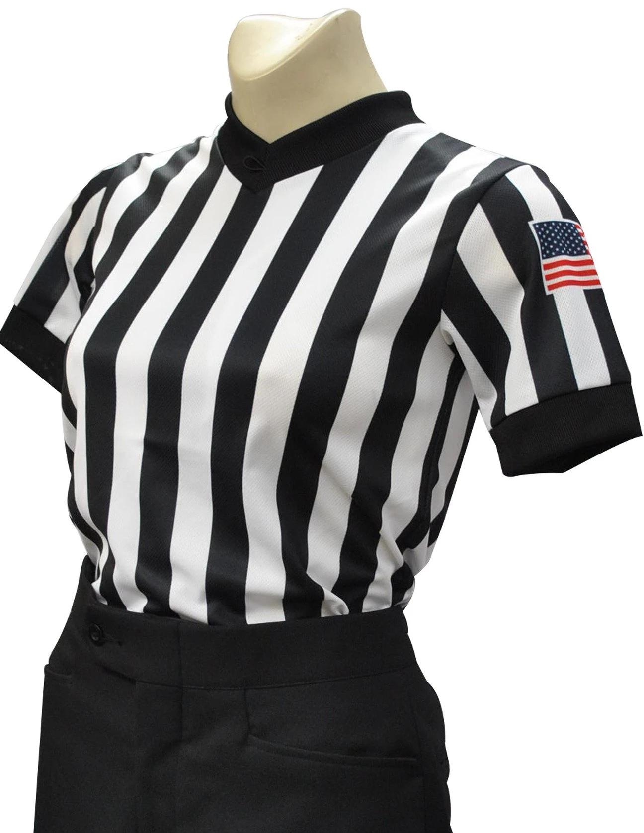 Smitty Women's Basketball Officials Body Flex V-Neck Shirt with USA Flag
