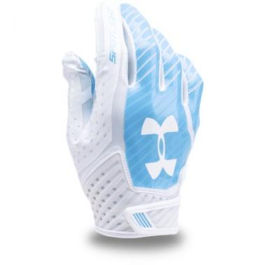 blue and white under armour football gloves
