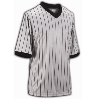 Smitty Basketball Officials Grey Performance Mesh V-Neck Shirt with Black Pinstripes