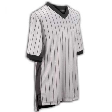 Smitty Basketball Officials Grey Elite V-Neck Shirt with Black Pinstripes with Side Panel