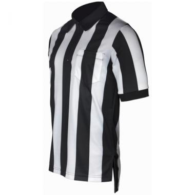 Smitty Football Officials 2 1/4 inch Stripe Performance Mesh Fabric Shirt - Short Sleeve
