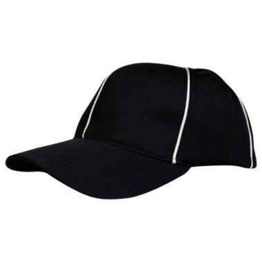 Smitty Stretch-Fit Referee Hat - Black With White Piping
