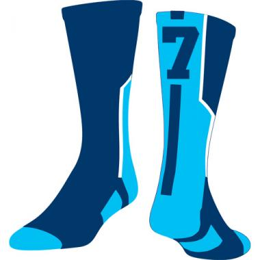 TCK Player ID Sock - Navy/Carolina Blue/White