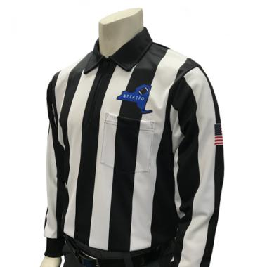 Smitty Official's Apparel Men's Long Sleeve New York Football Referee Shirt With 2 1/4 inch Stripes and USA Flag