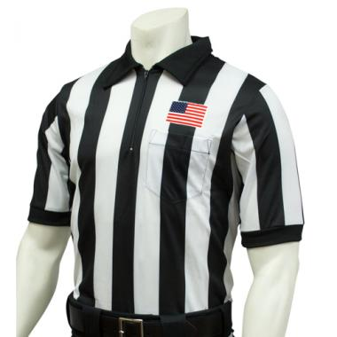 Smitty Official's Apparel Smitty Men's Short Sleeve Football Referee Shirt With 2 inch Stripes and USA Flag