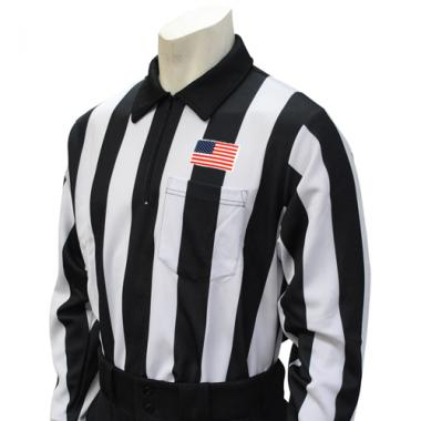 Smitty Official's Apparel Smitty Men's Long Sleeve Football Referee Shirt With 2 inch Stripes and USA Flag